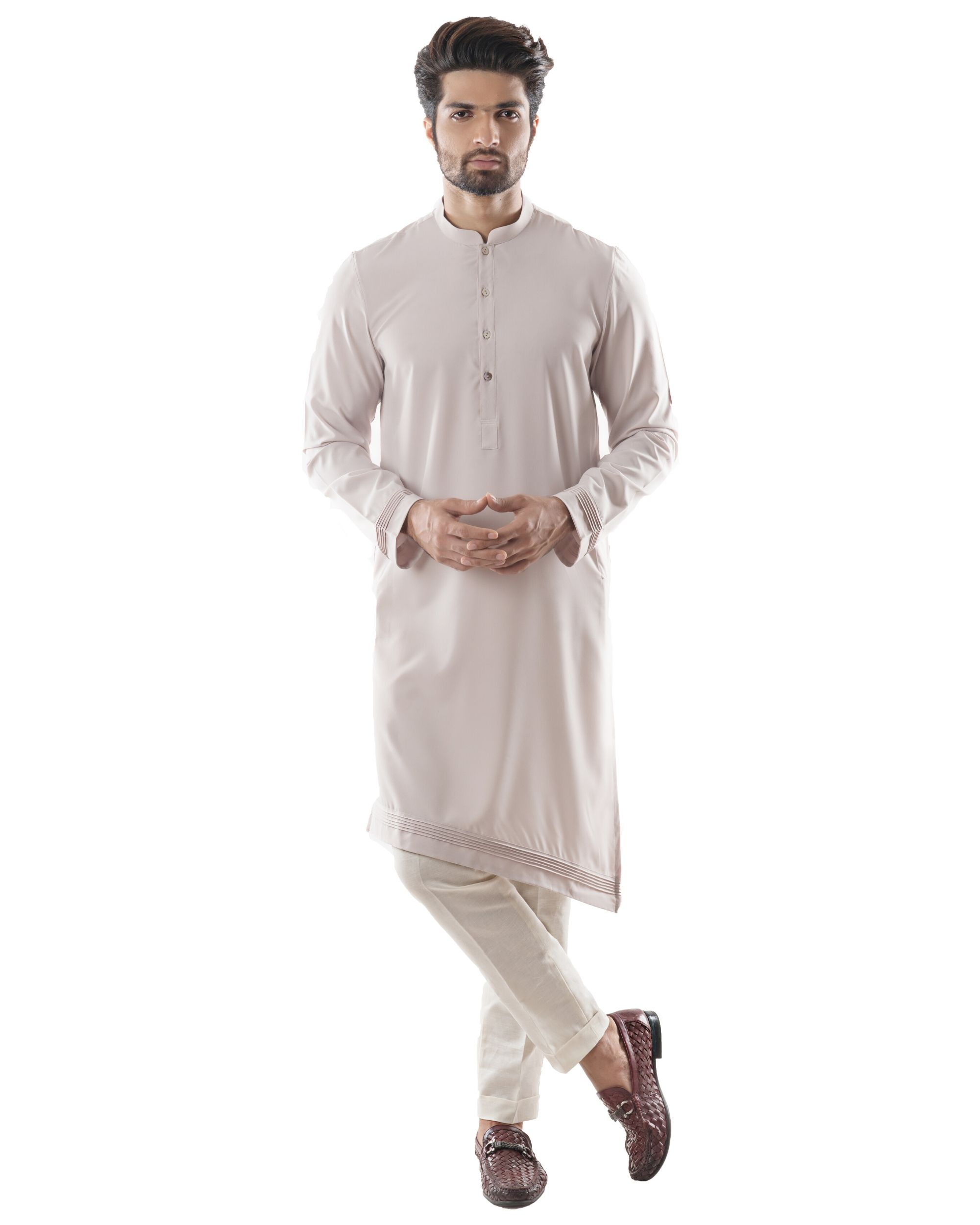 Ice grey asymmetrical pin tuck kurta and pants set- Set Of Two