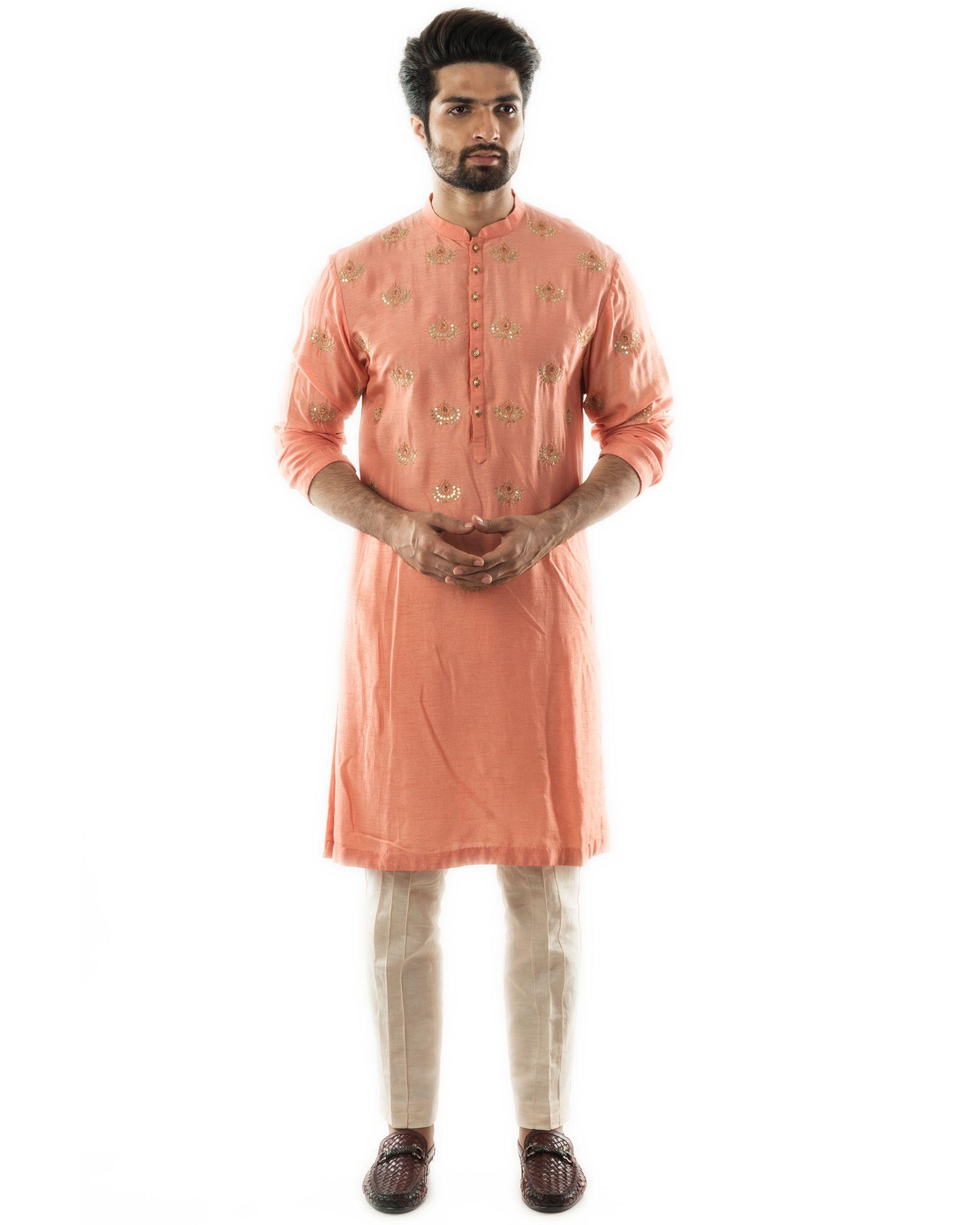 Peachy orange embroidered short kurta and pin tuck pants set- Set Of Two