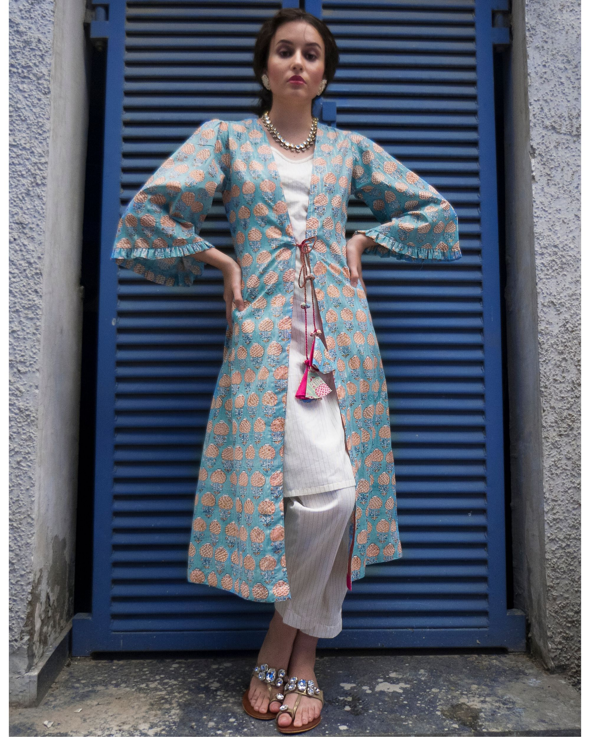Ecru kurta and pants with sky blue cover-up- Set Of Three