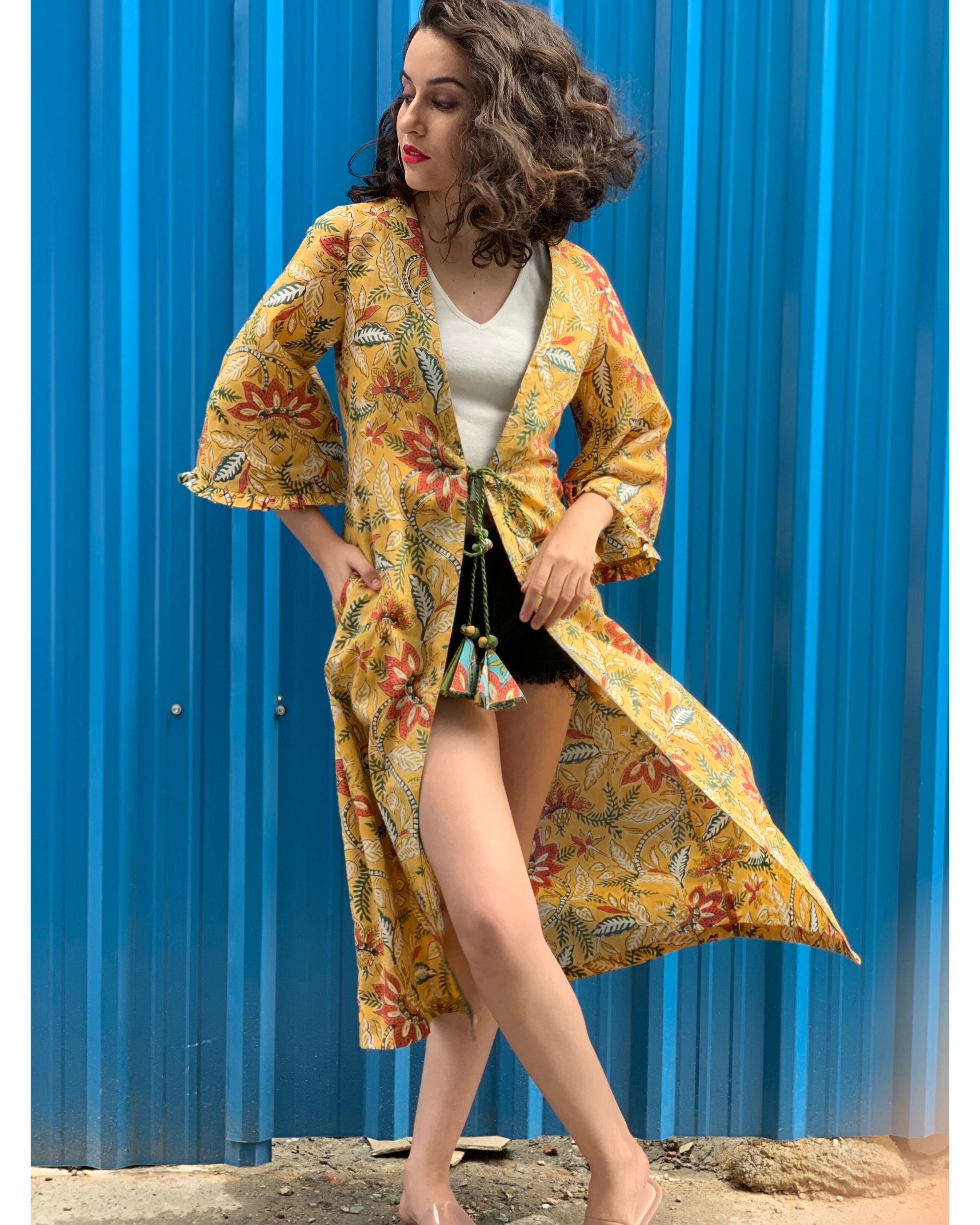 Yellow floral printed cover-up
