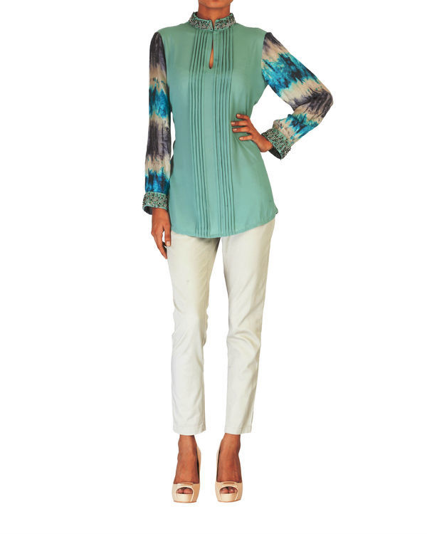 Embroidered pale sea green with printed sleeves top