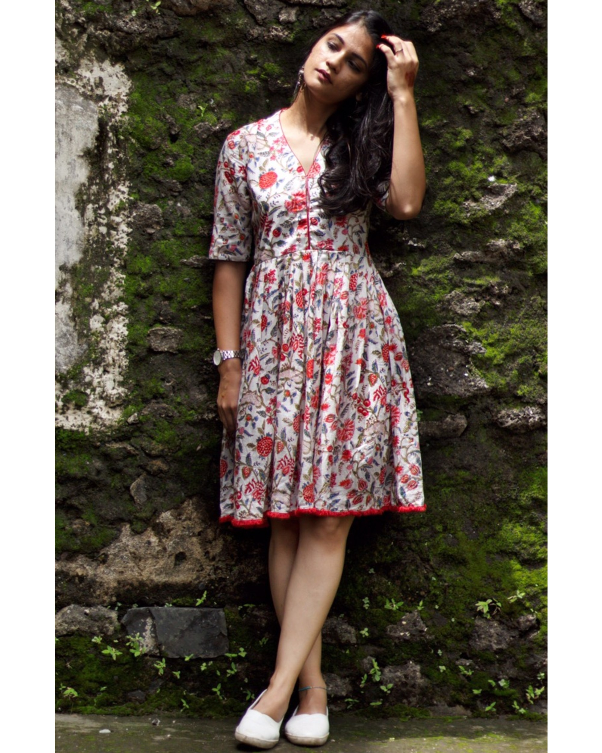 White and red floral printed dress