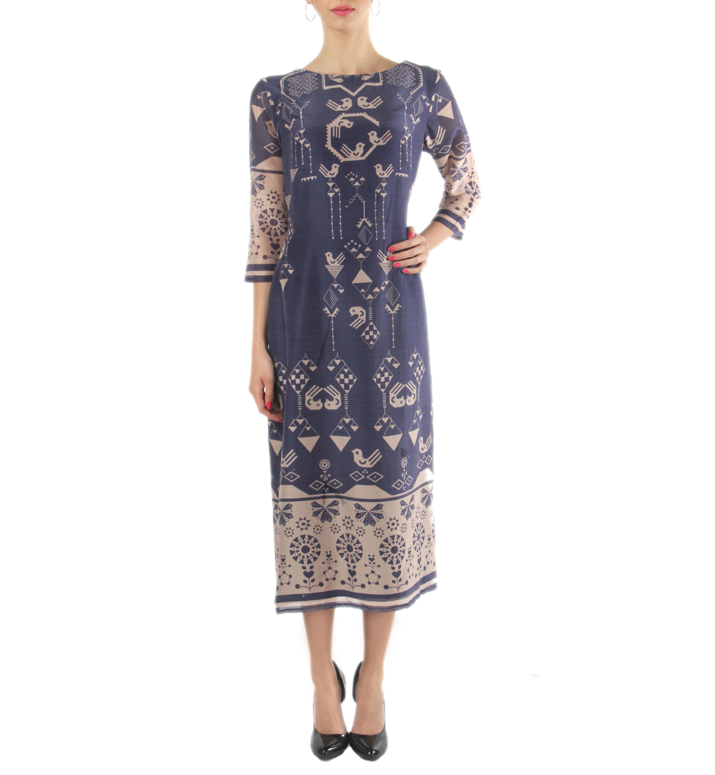 Navy and beige ankle length dress
