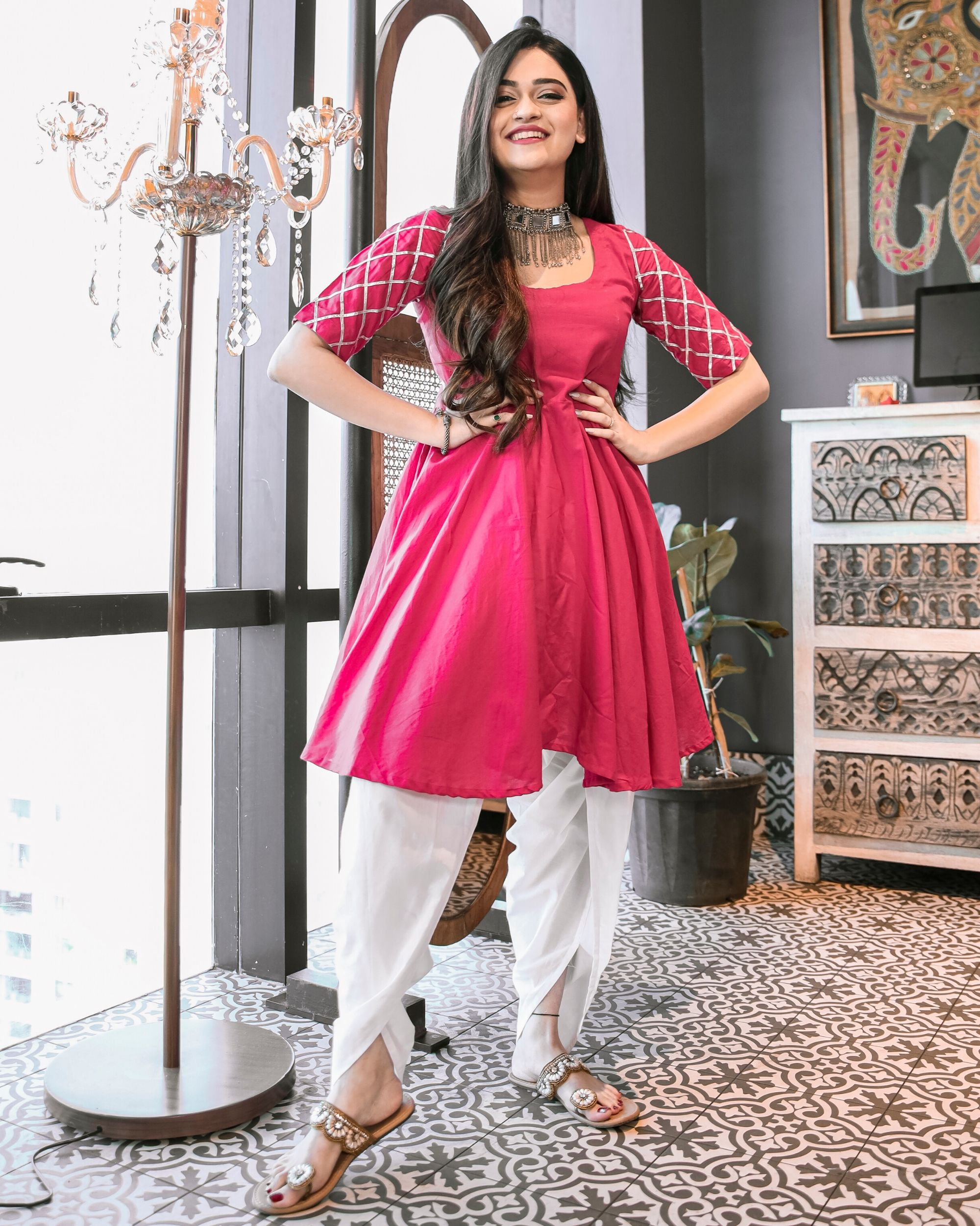 Magenta pink gota kurta and dhoti set- Set Of Two