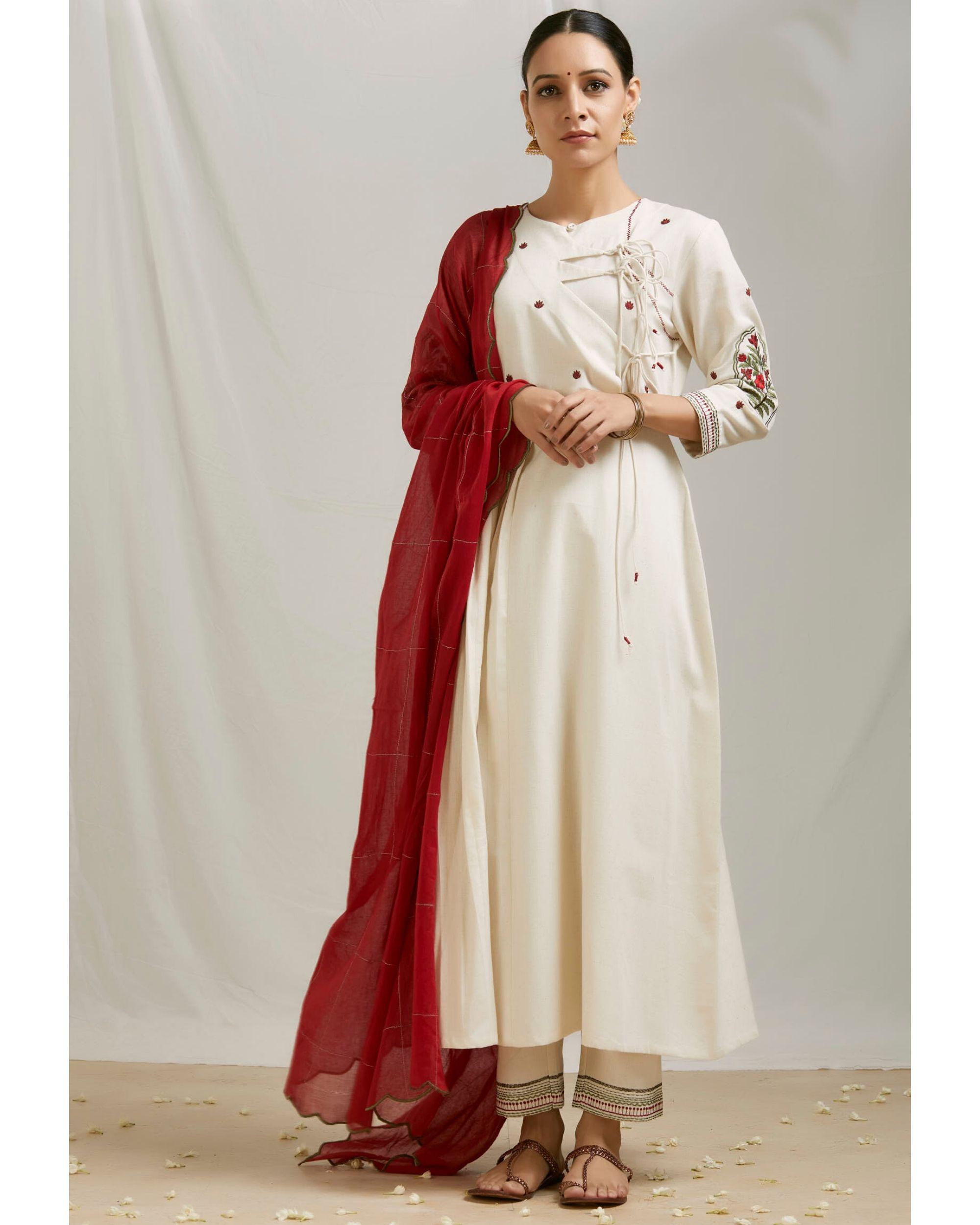 Ivory floral embroidered angrakha kurta and pants with dupatta- Set Of Three