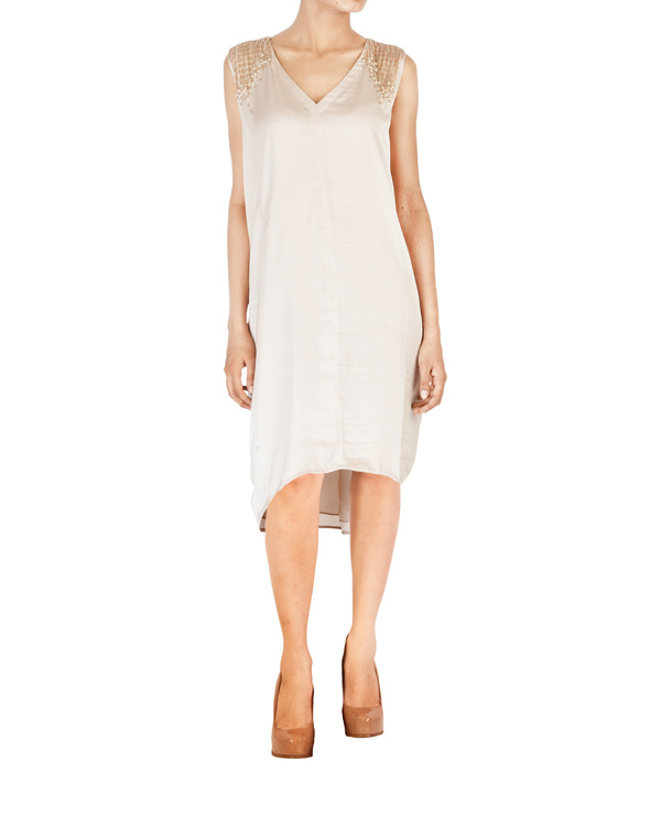 Asymmetrical satin embroidered dress in  a soft metallic beige colour