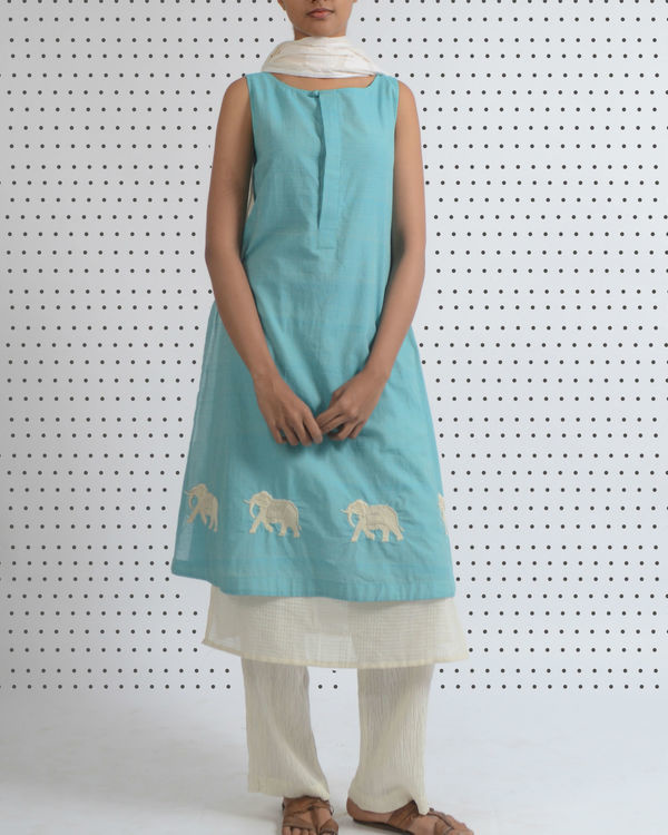 Ice blue double layered tunic