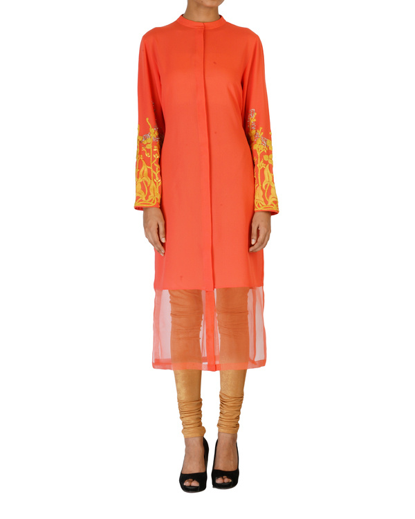 Coral tunic with embroidered sleeves