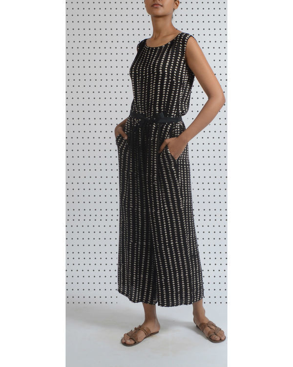 Polka print ankle length jumpsuit
