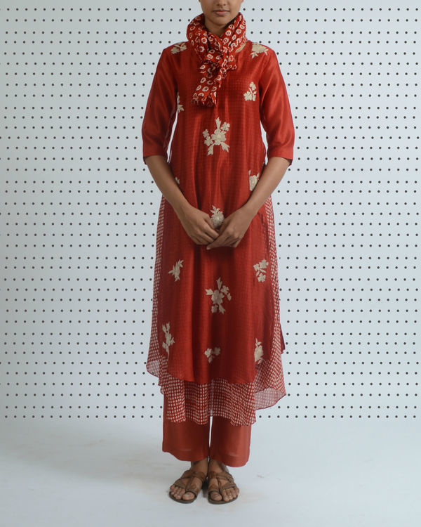 Red polka print double layered tunic