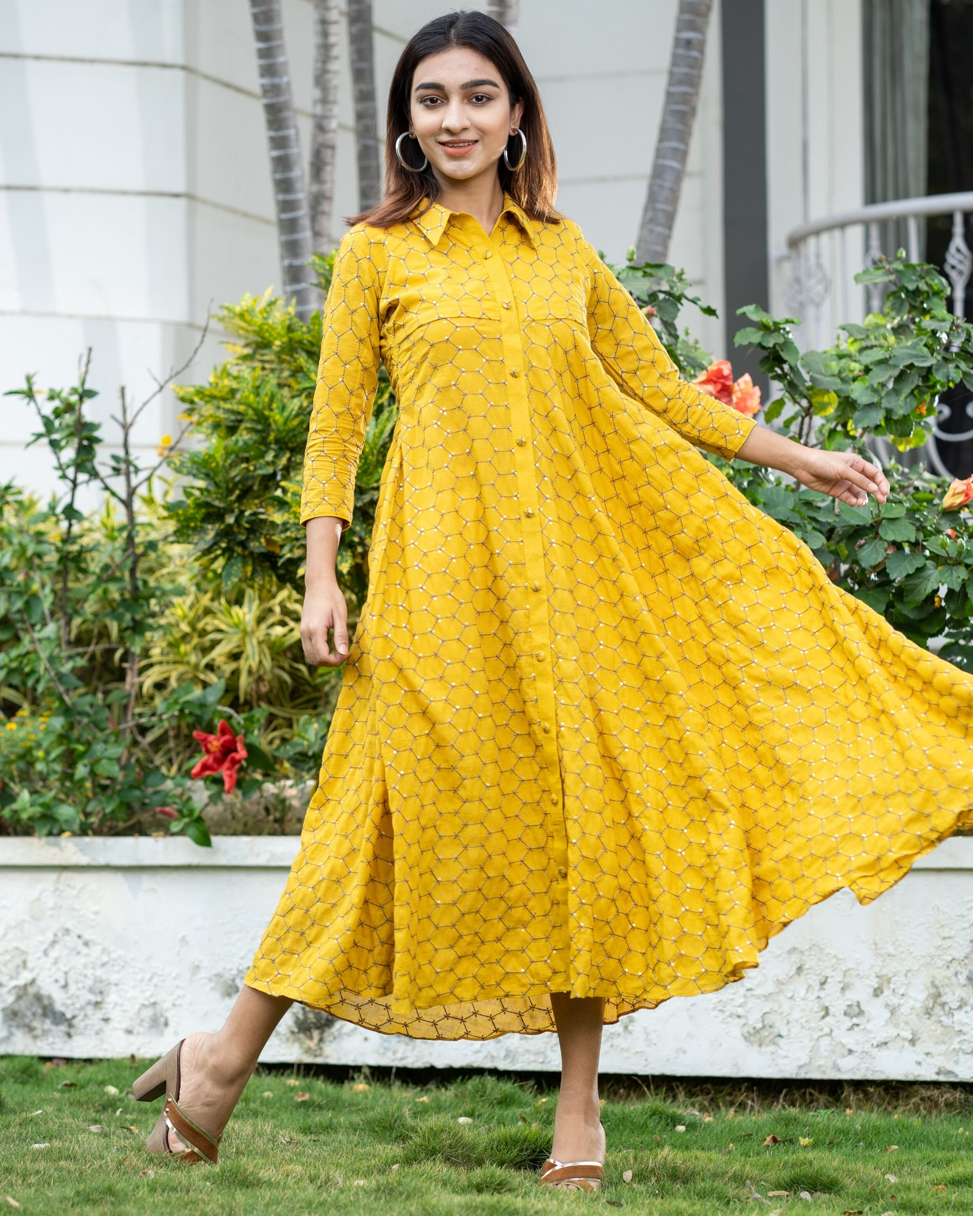 Yellow web embroidered collar dress