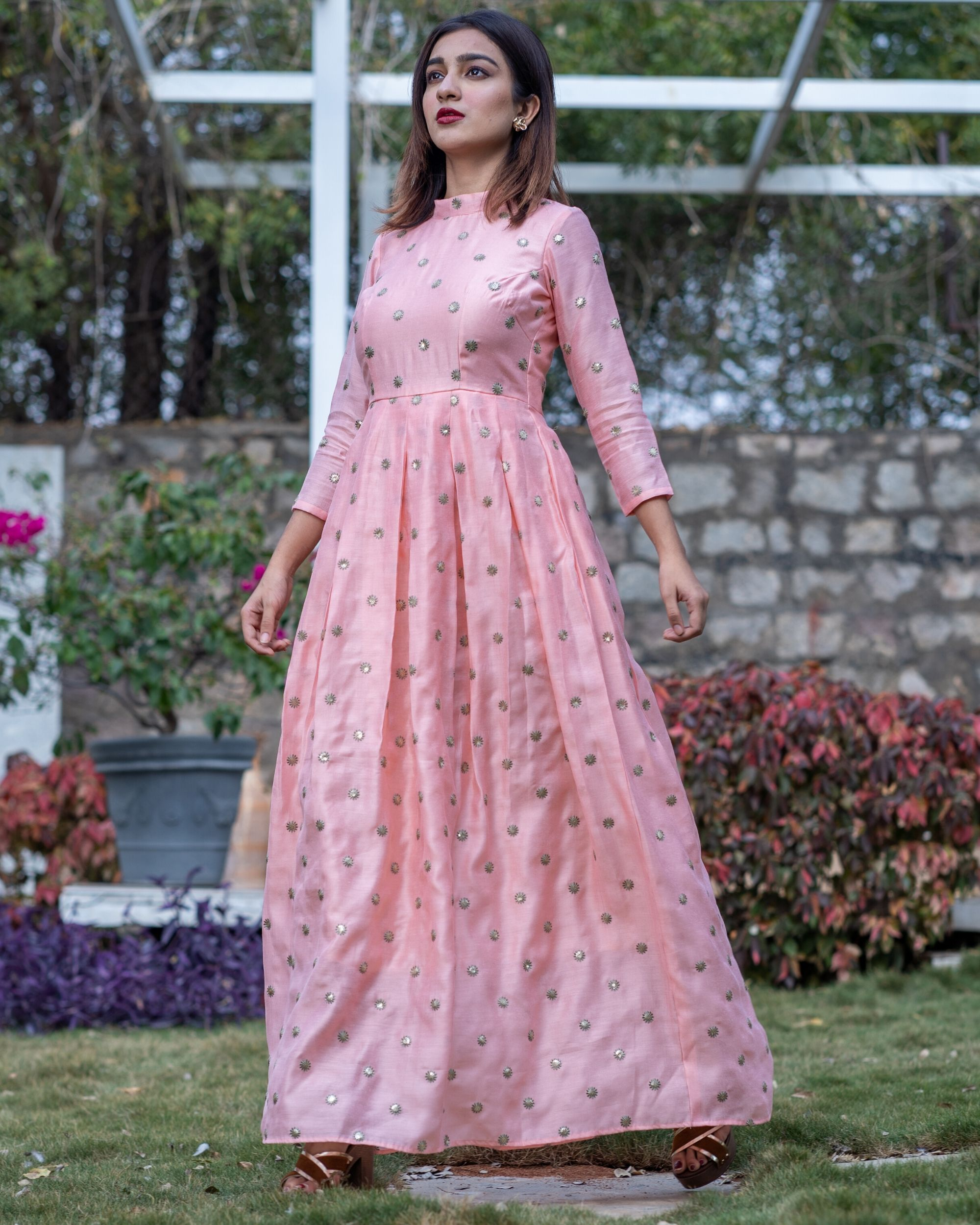 Pink embroidered box pleated chanderi dress