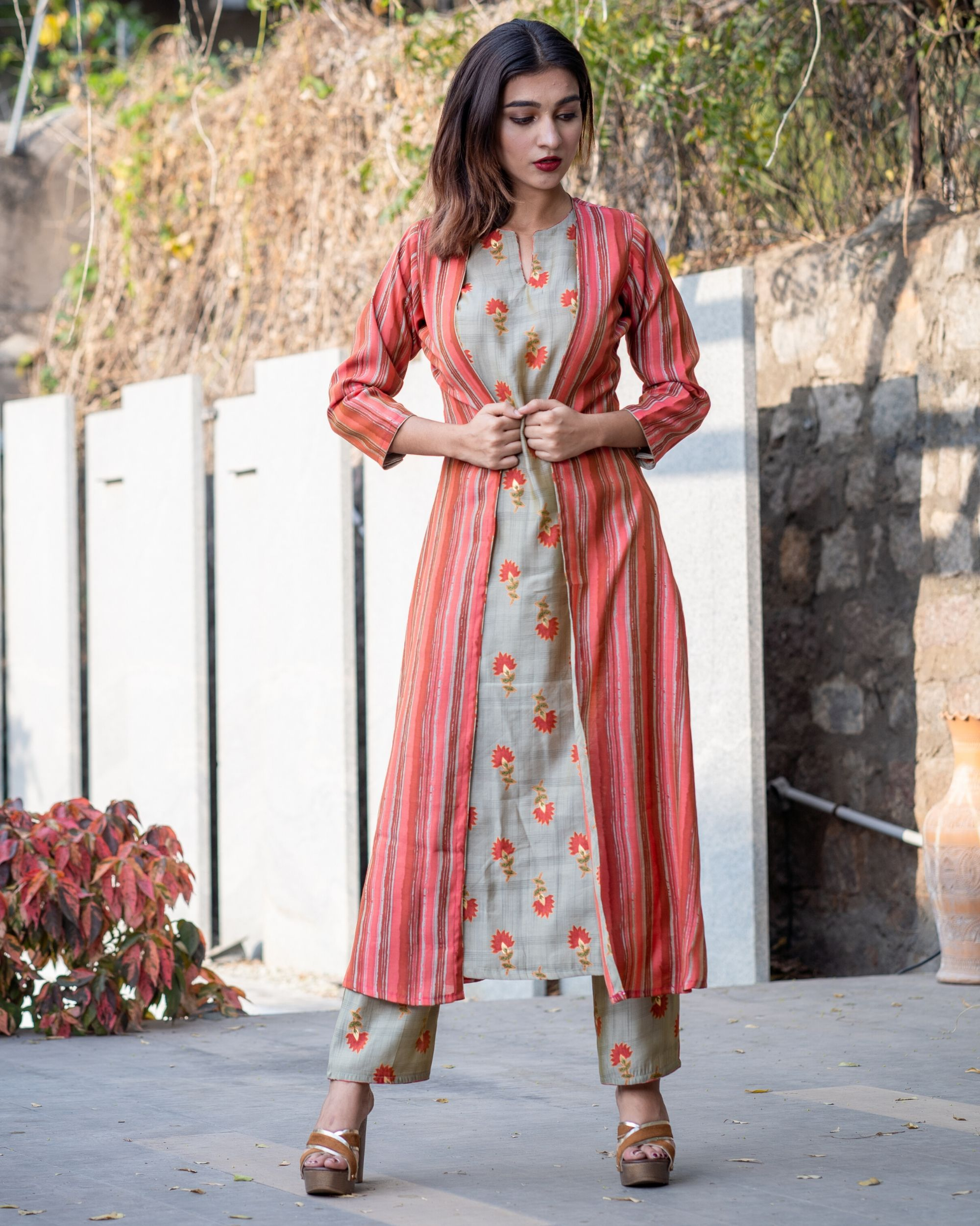 Khaki floral boota kurta and pants with red striped jacket- Set Of Three