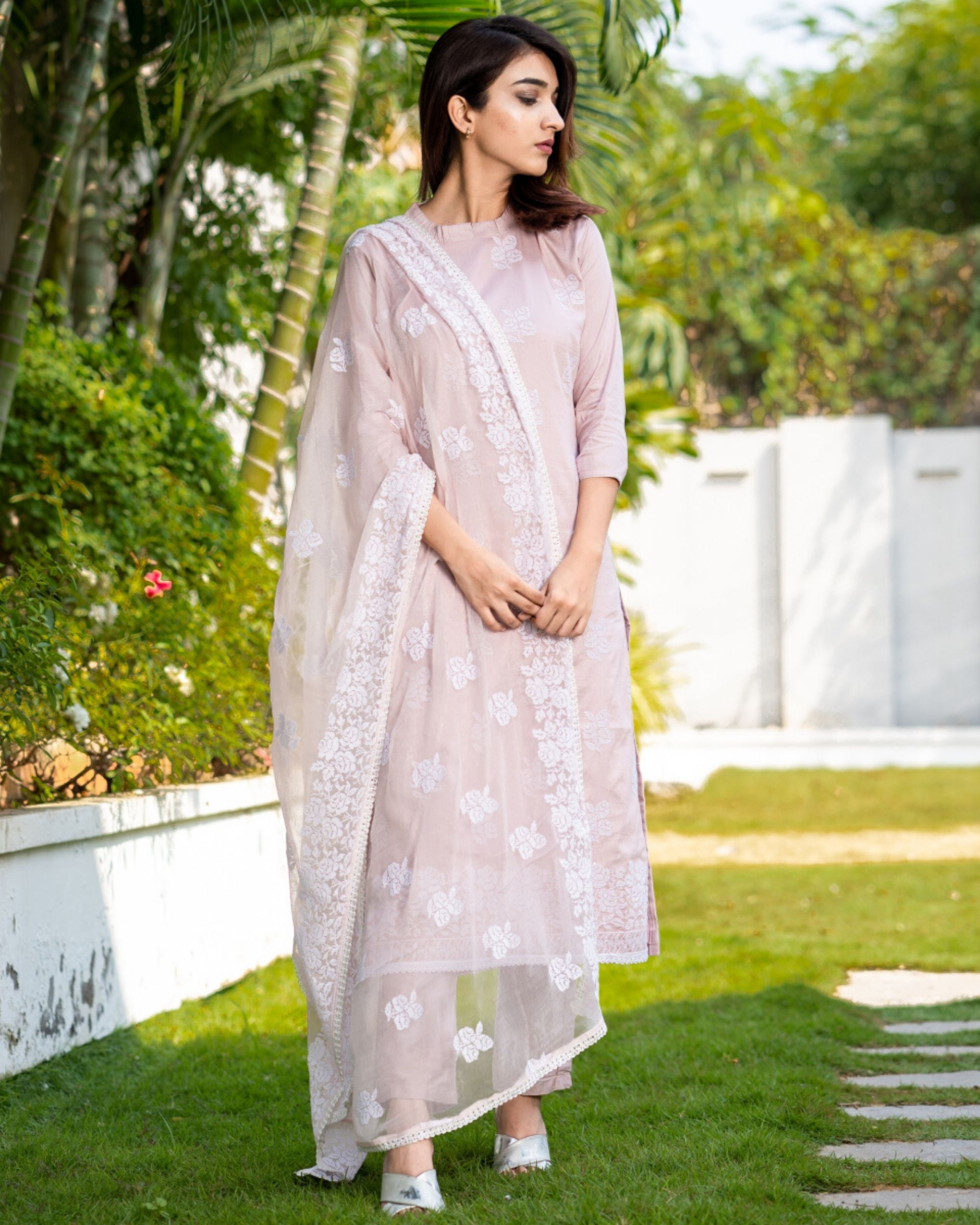 Pearl peach cross stitch embroidered kurta and pants with dupatta- Set Of Three
