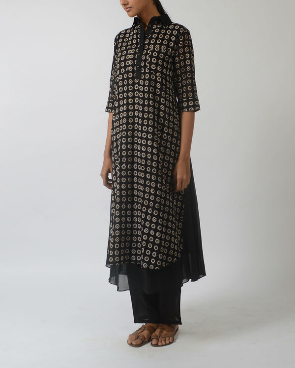 Black printed double layered tunic