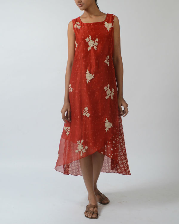 Red printed overlapping dress