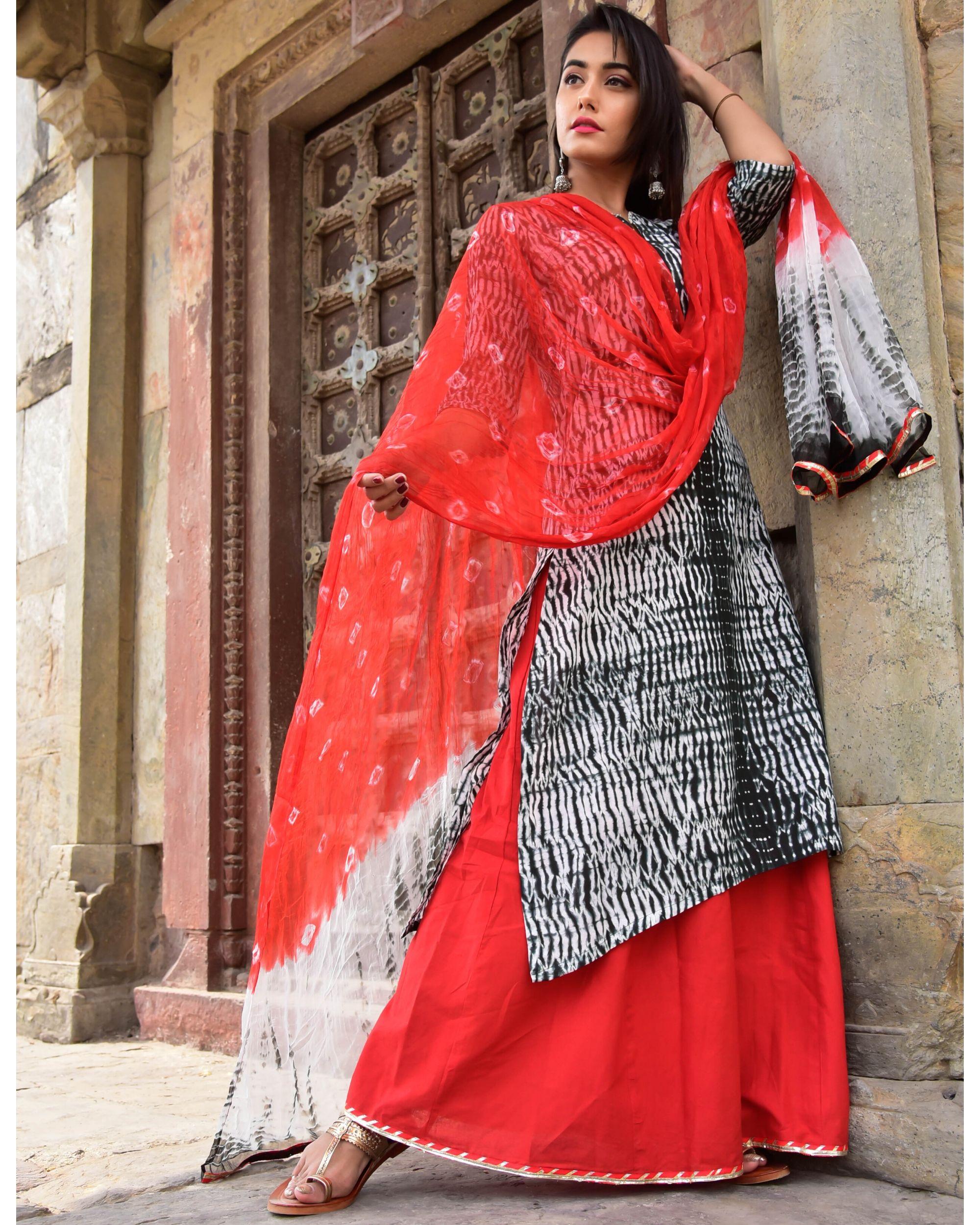 Black and red shibori kurta and palazzo with dupatta- Set Of Three