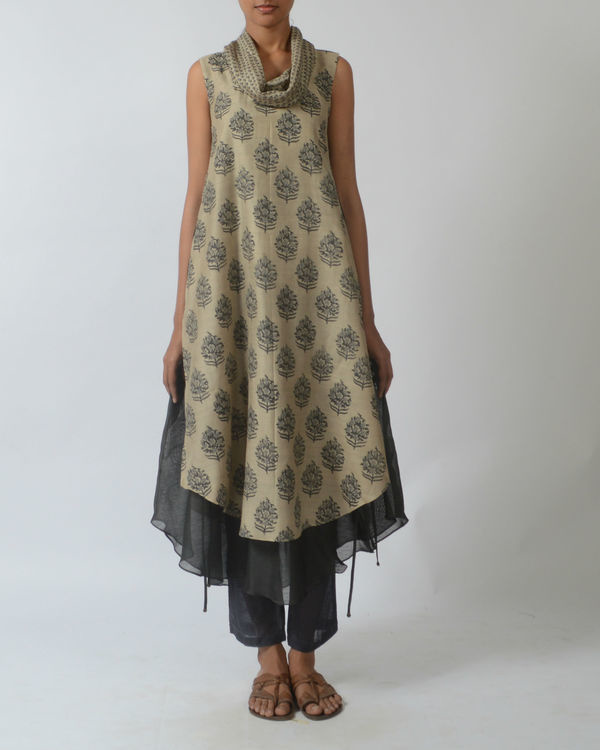 Beige double layered printed tunic