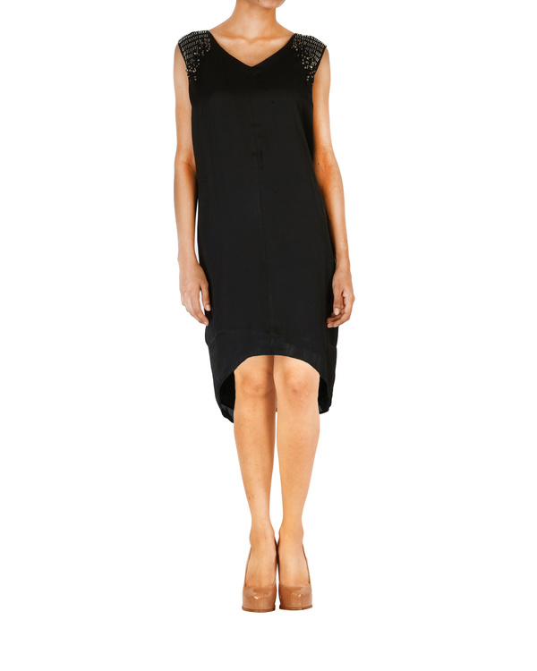 Asymmetrical satin embroidered black dress