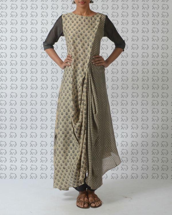 Beige mughal printed tunic