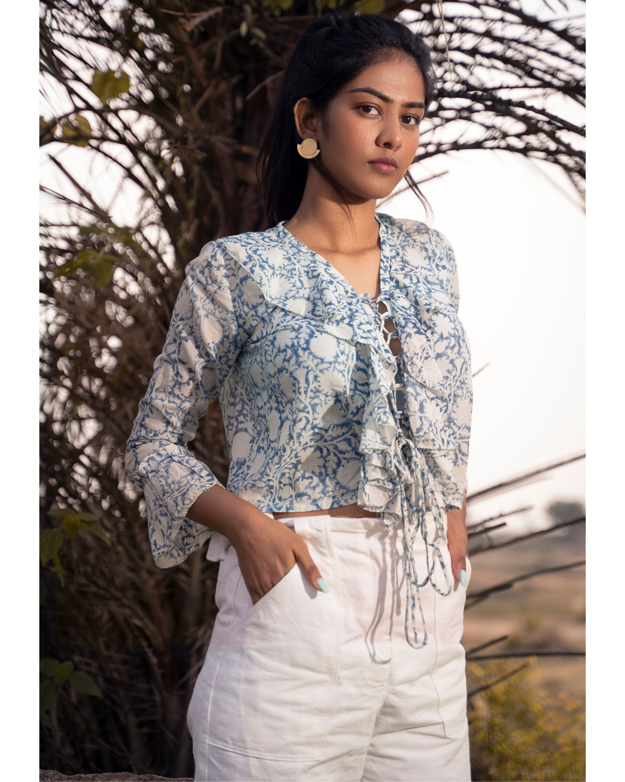 Blue and white victorian ruffle top