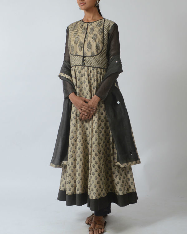 Mughal printed tunic with pleated yoke