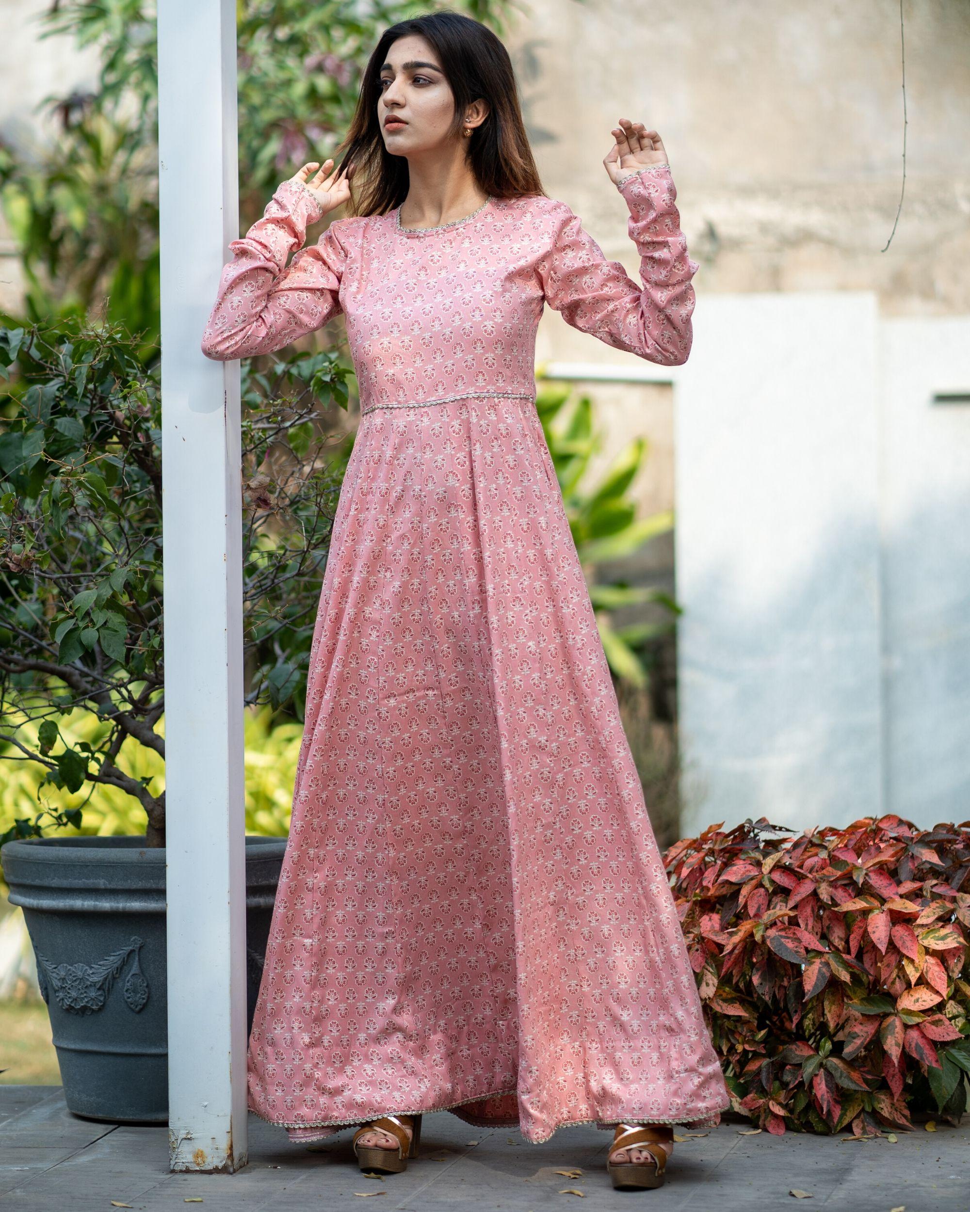 Pink boota kalidar dress