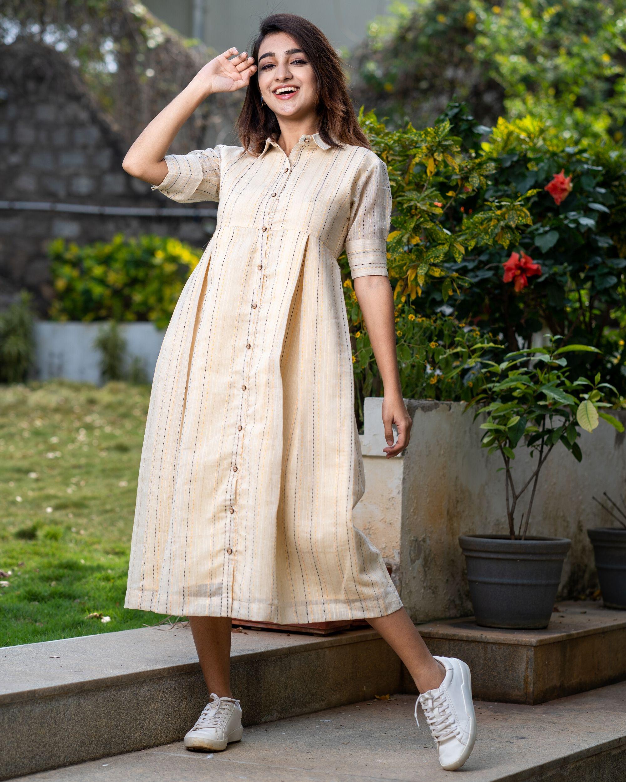Light beige button dress with thread work