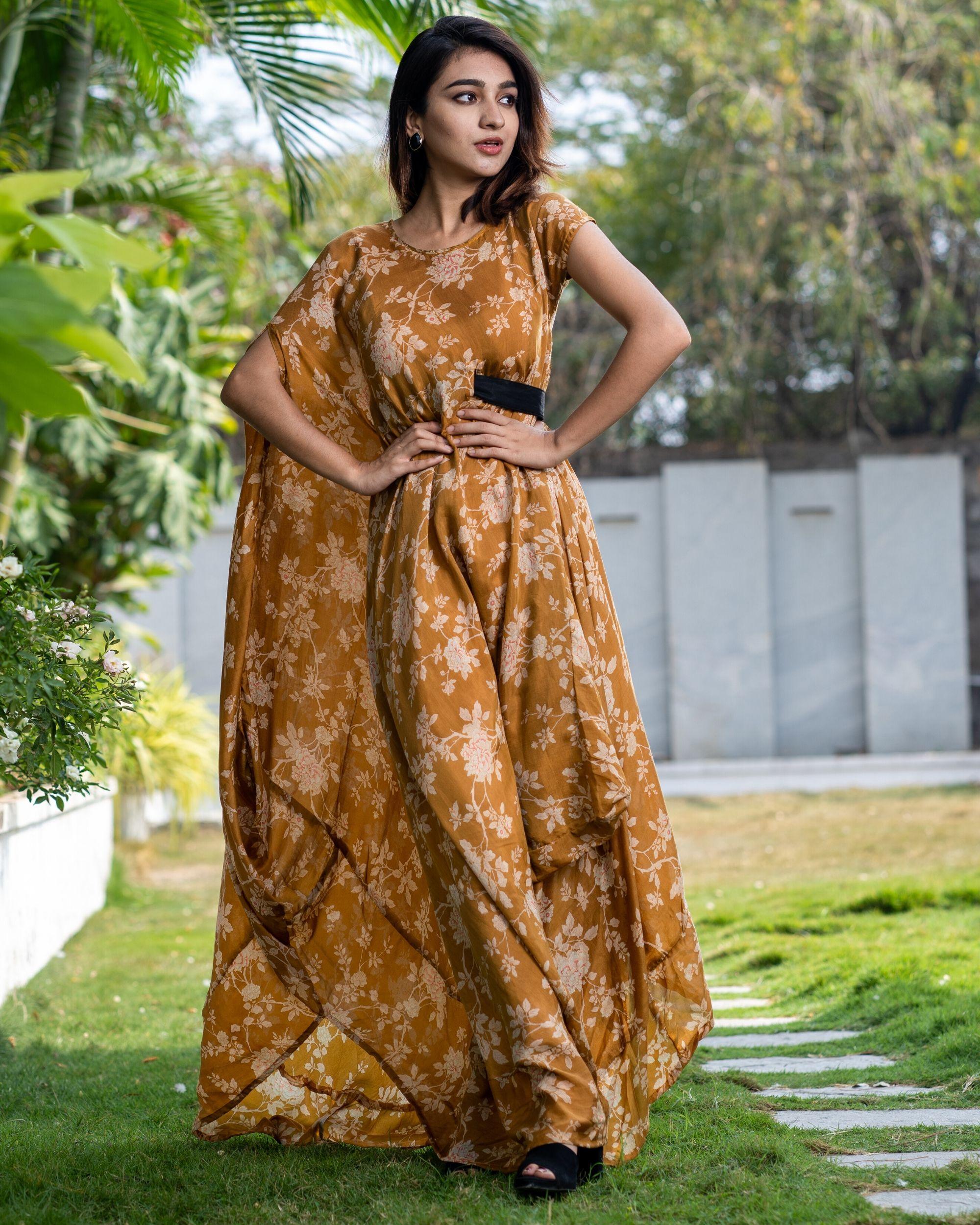 Cider orange floral dress with side belt