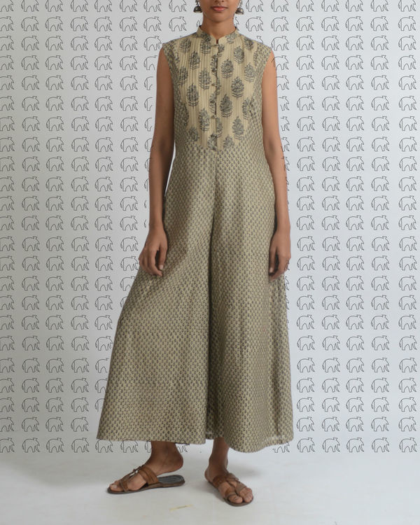Beige printed jumpsuit with pleated yoke