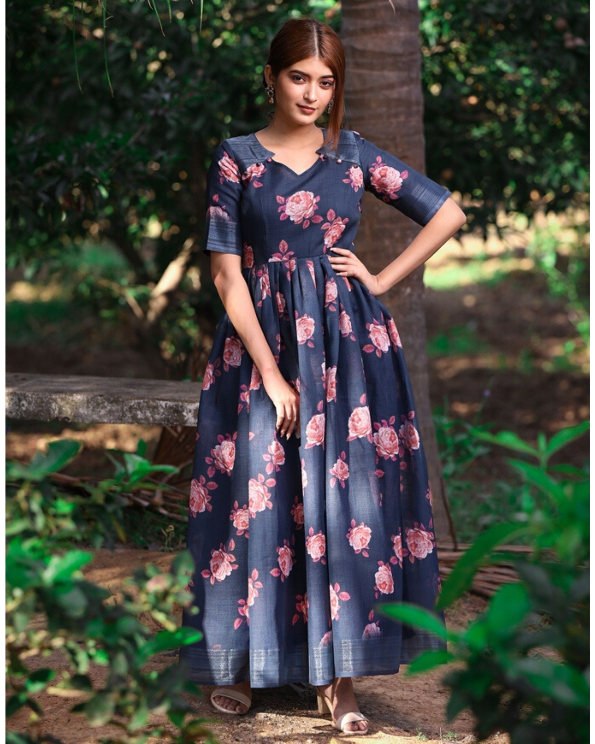 Dark blue and pink floral flared maxi dress