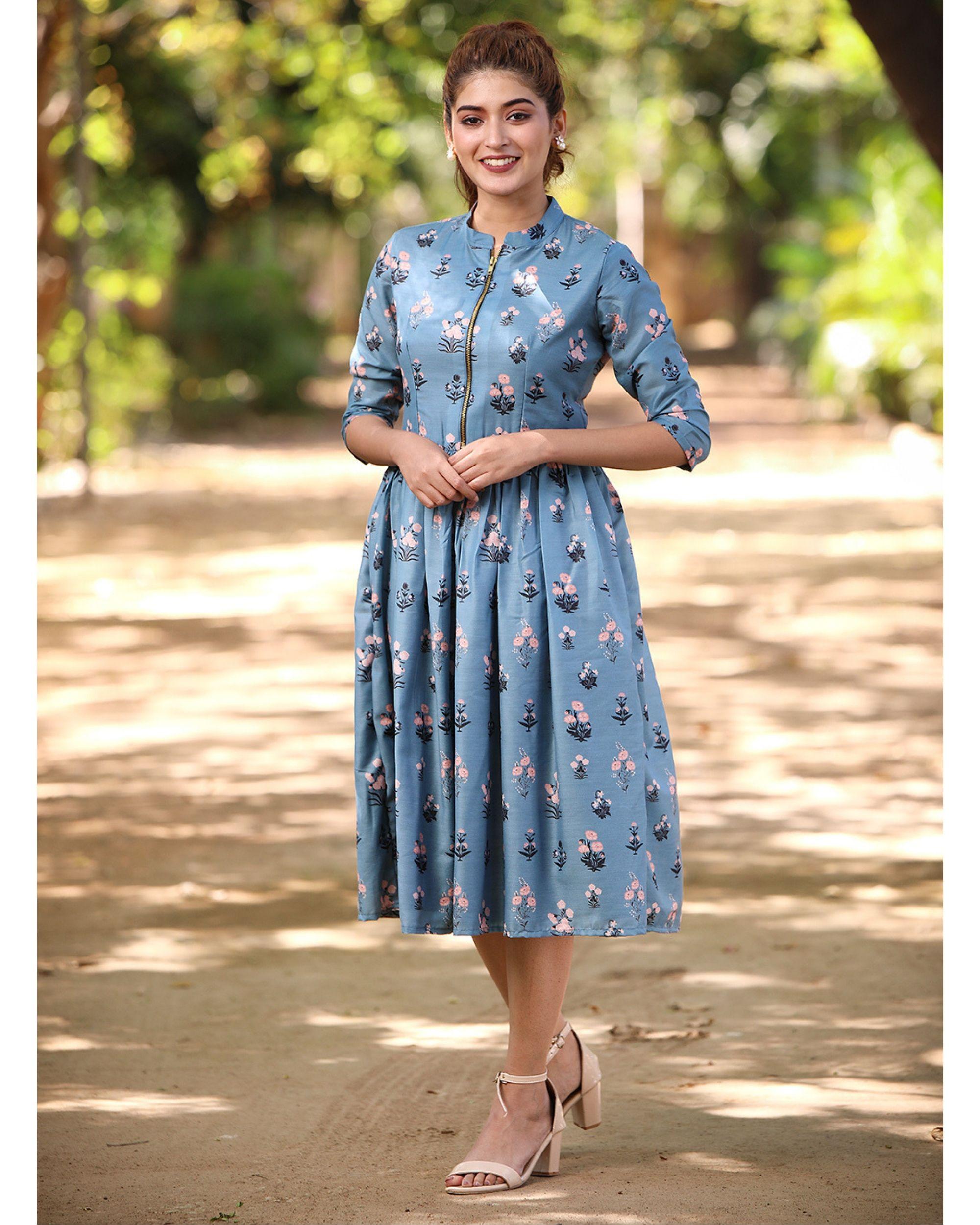 Dusty cyan blue floral zipper midi dress