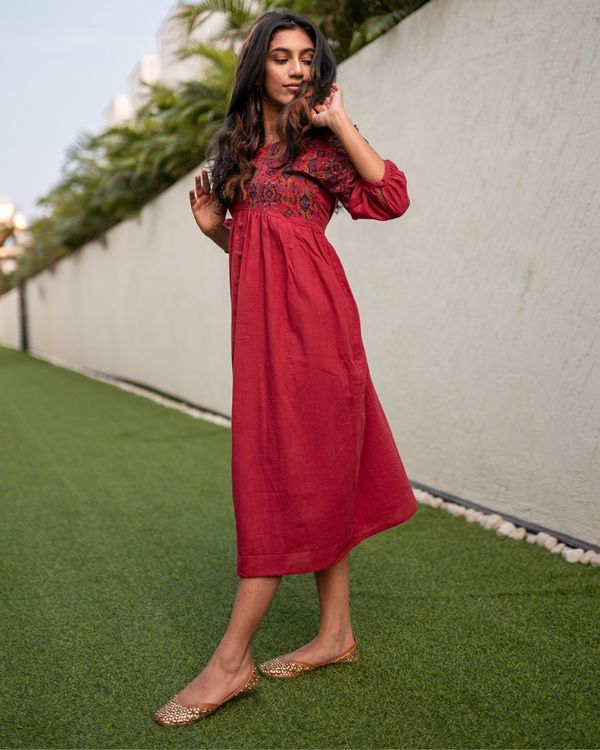 Red front open embroidered dress