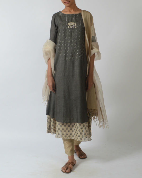 Grey double layered tunic with embroidery