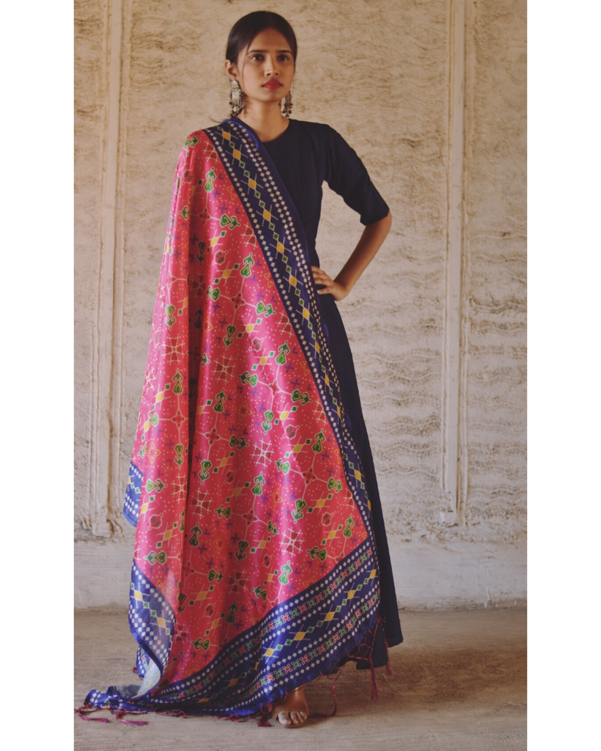 Navy blue flared dress with pink dupatta- Set Of Two