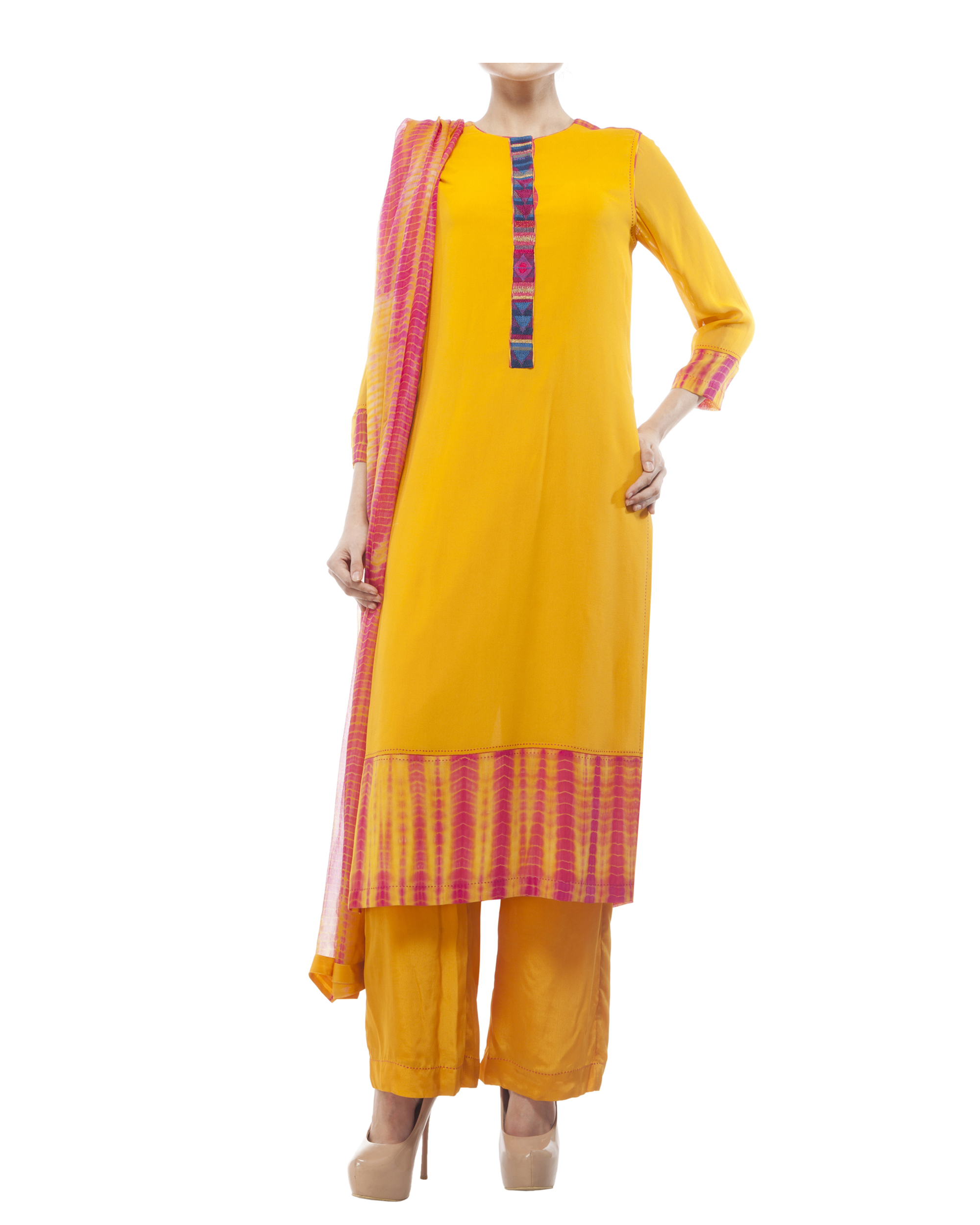 Round neck front embroidered kurta , comes with a palazzo  and a tie & dye dupatta