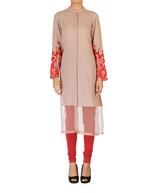 Pale mauve tunic with embroidered sleeves