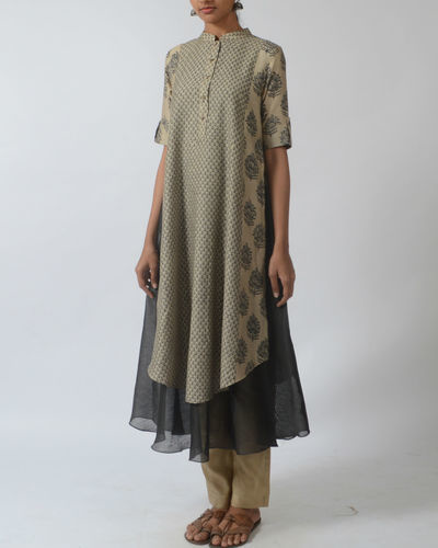 Stand Collar Kurta Designs : Double layered kurta with stand collar by myoho kiran