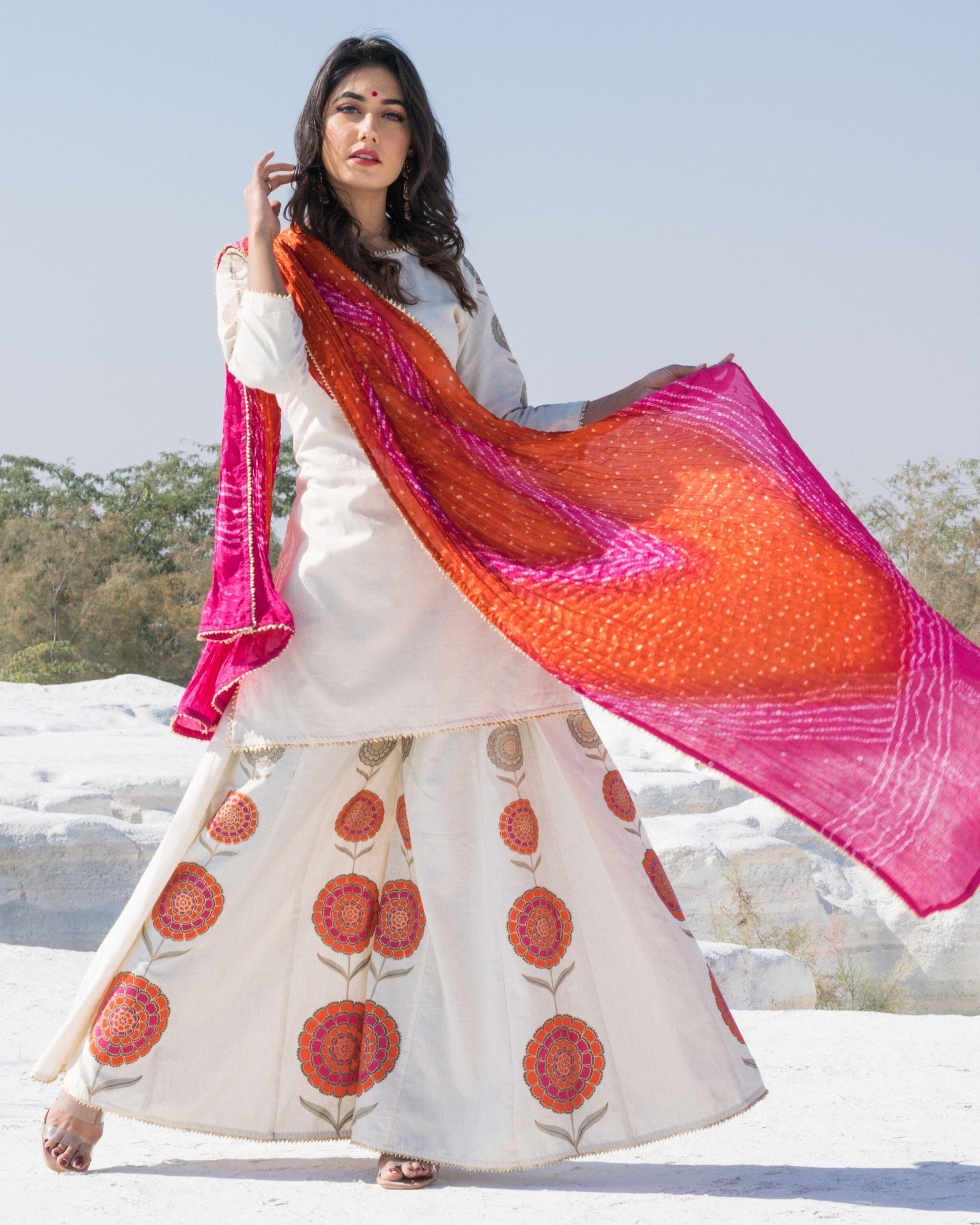 Off white floral gota kurta and sharara with bandhani dupatta- Set Of Three