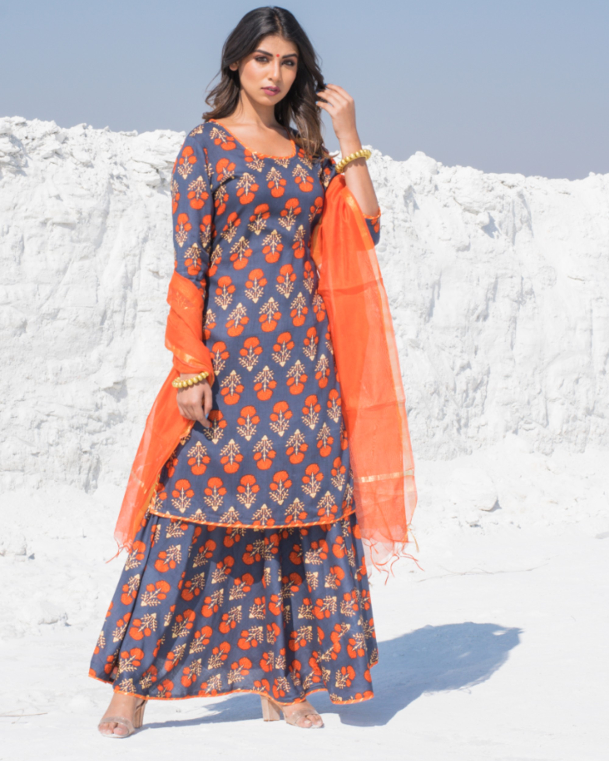 Grey and orange floral printed kurta and skirt with dupatta - Set Of Three