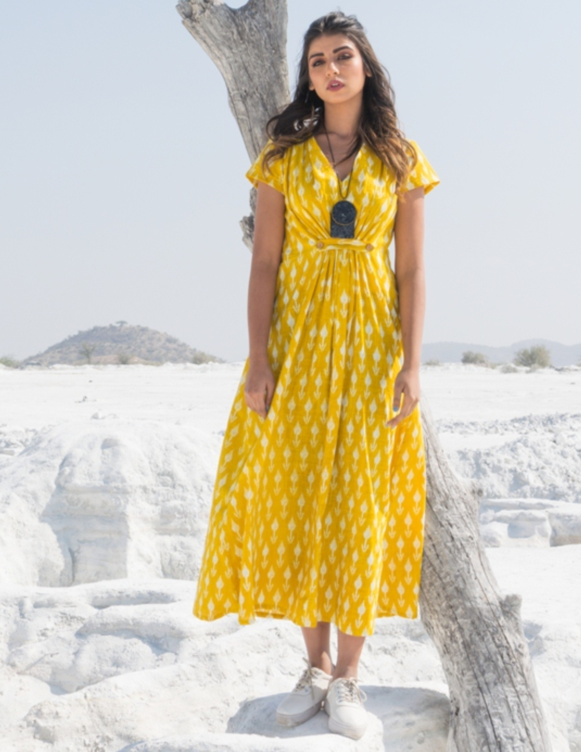 Yellow and white ikat buttoned dress
