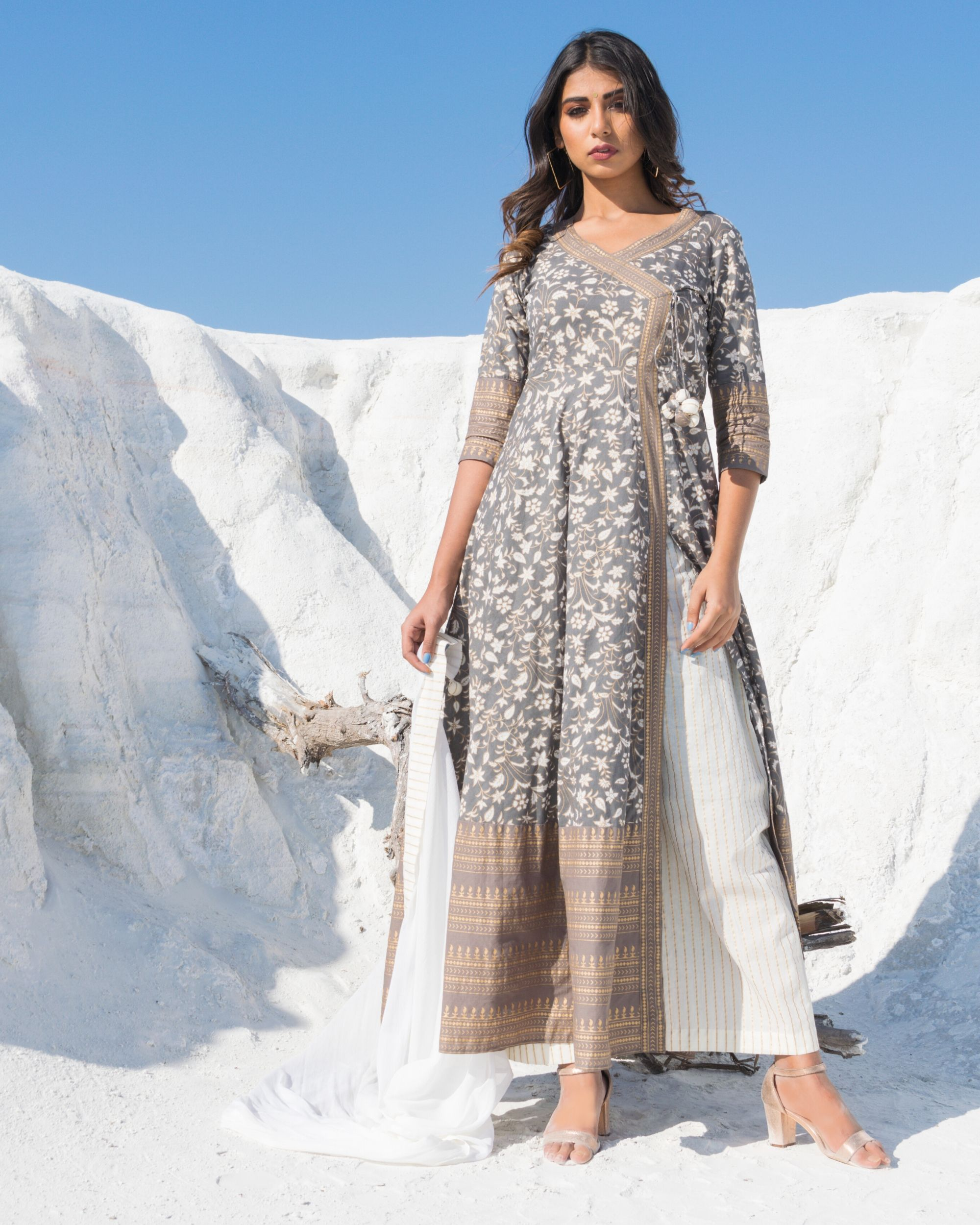 Grey and off white floral angrakha kurta and palazzo with dupatta- Set Of Three