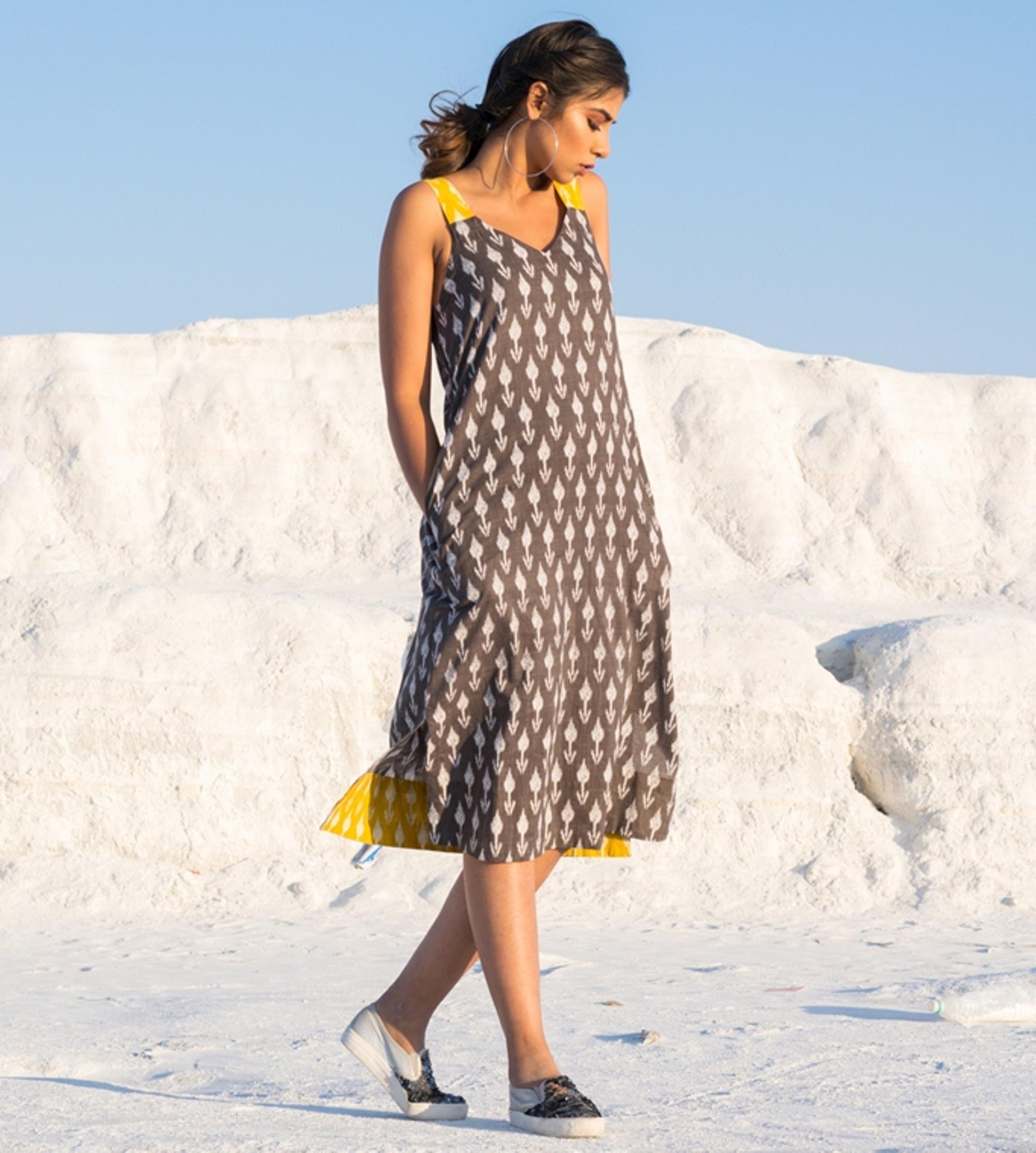 Grey and yellow ikat slit dress