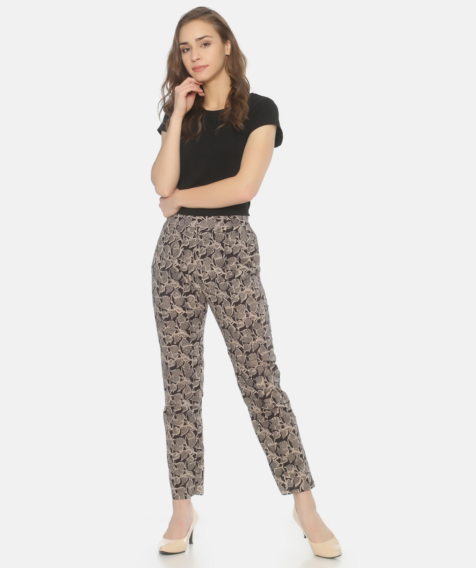 Black and grey kalamkari pants