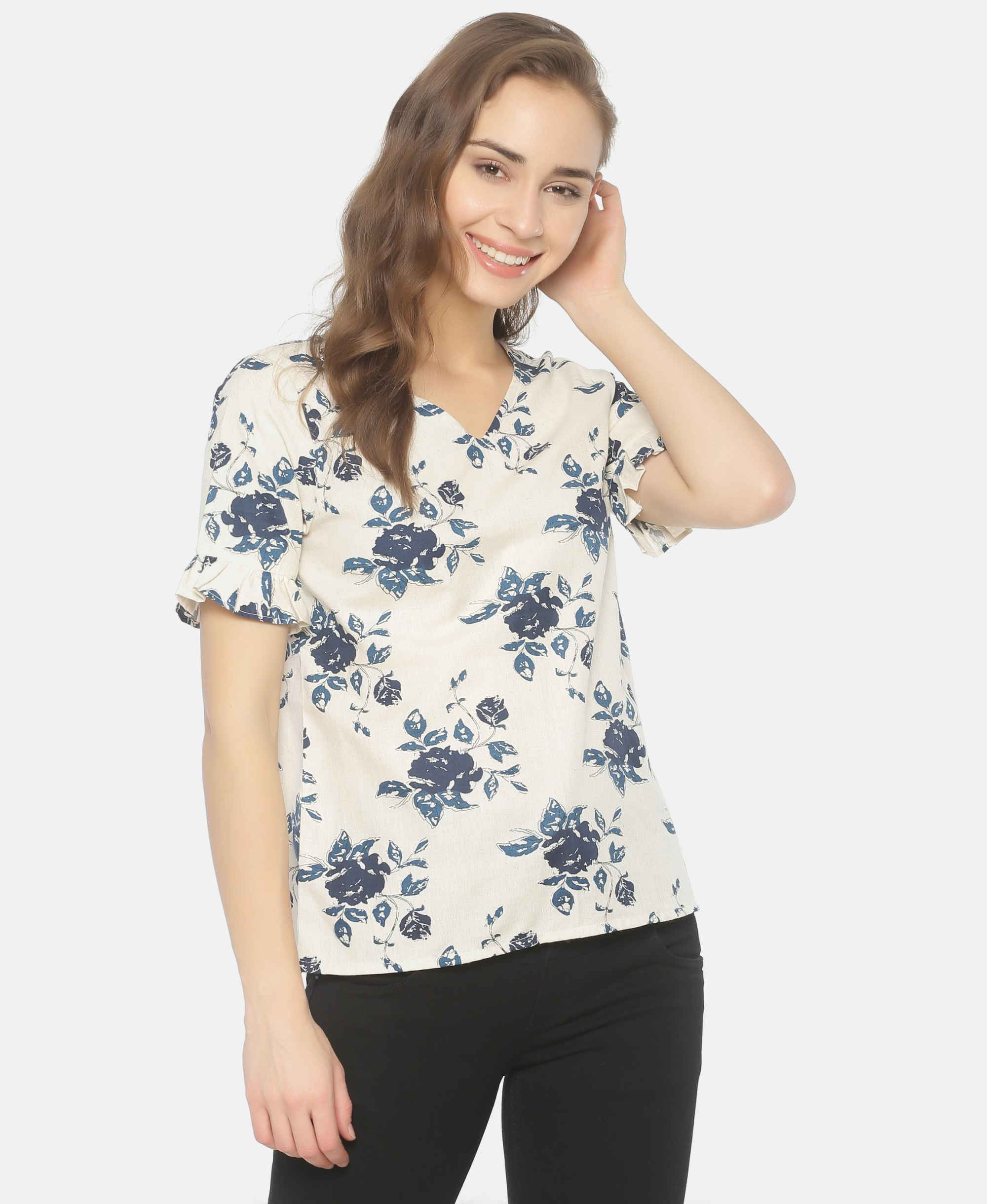 Off white and blue floral printed cut work top