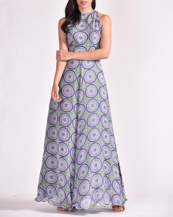 Blue a-line maxi dress