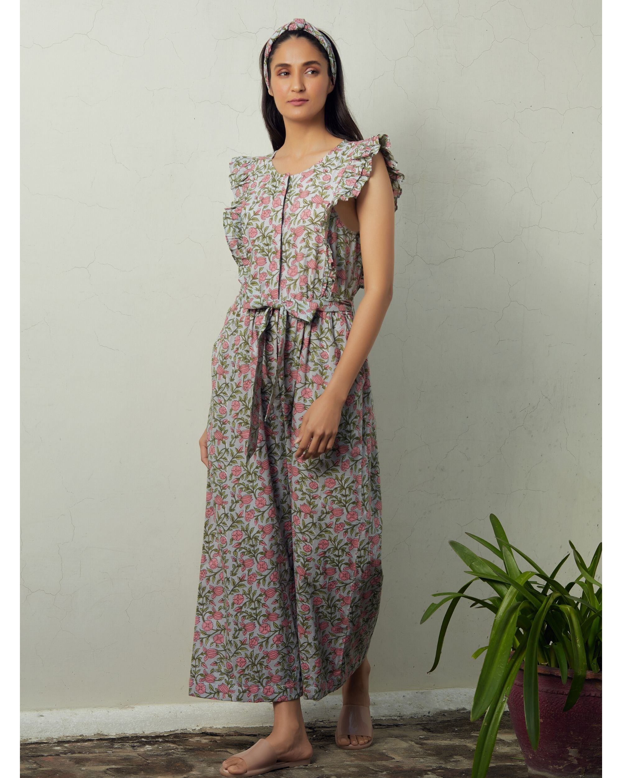 Grey and pink floral tie-up jumpsuit