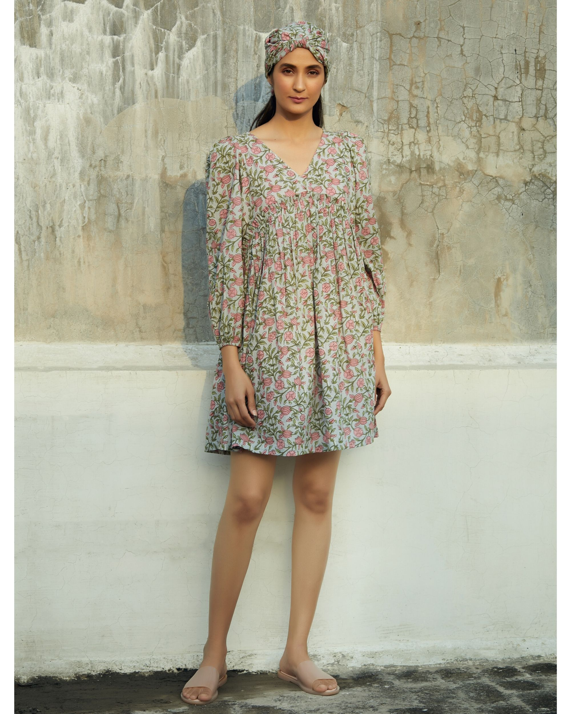 Grey and pink floral ruffled dress