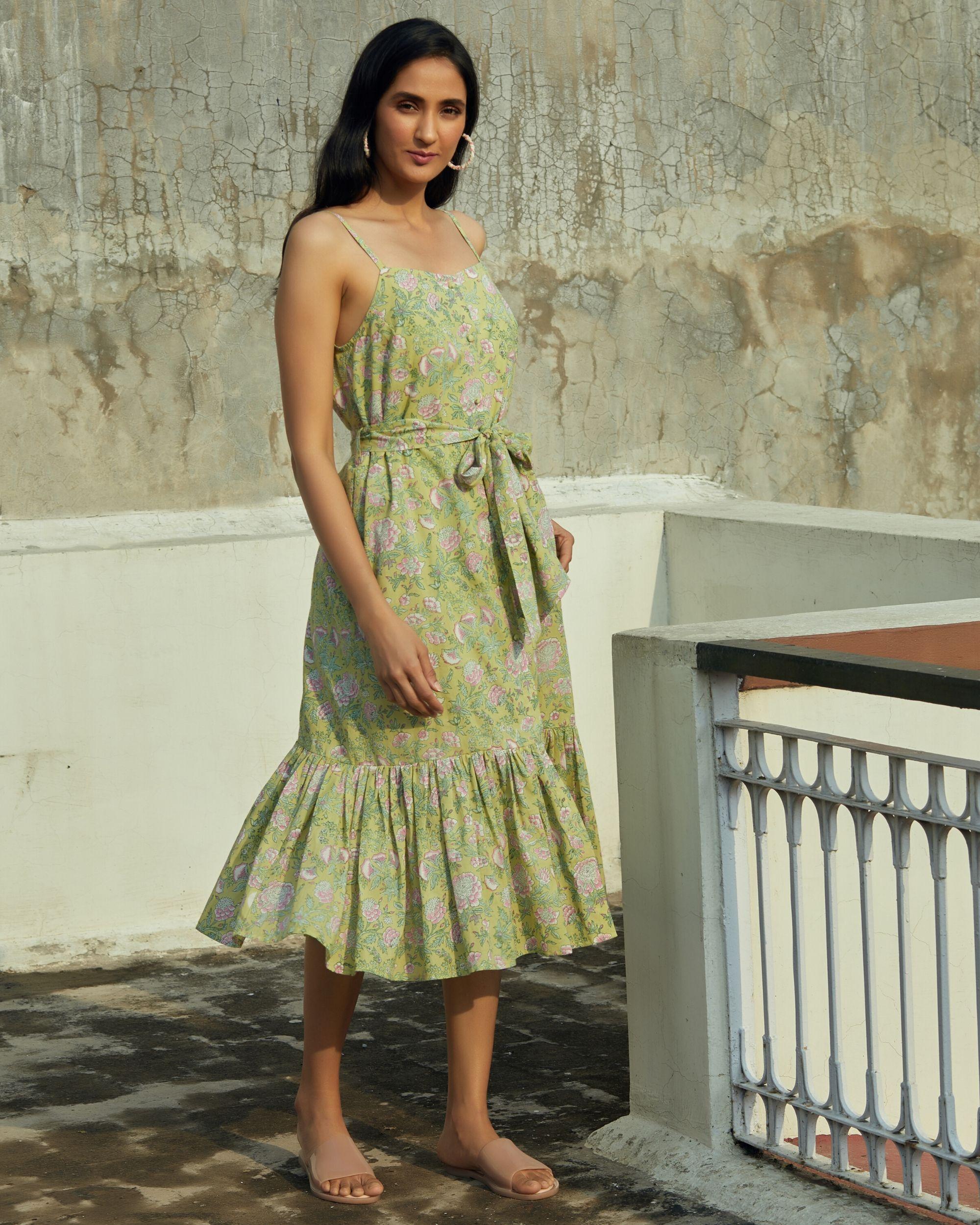 Green floral ruffled strap dress