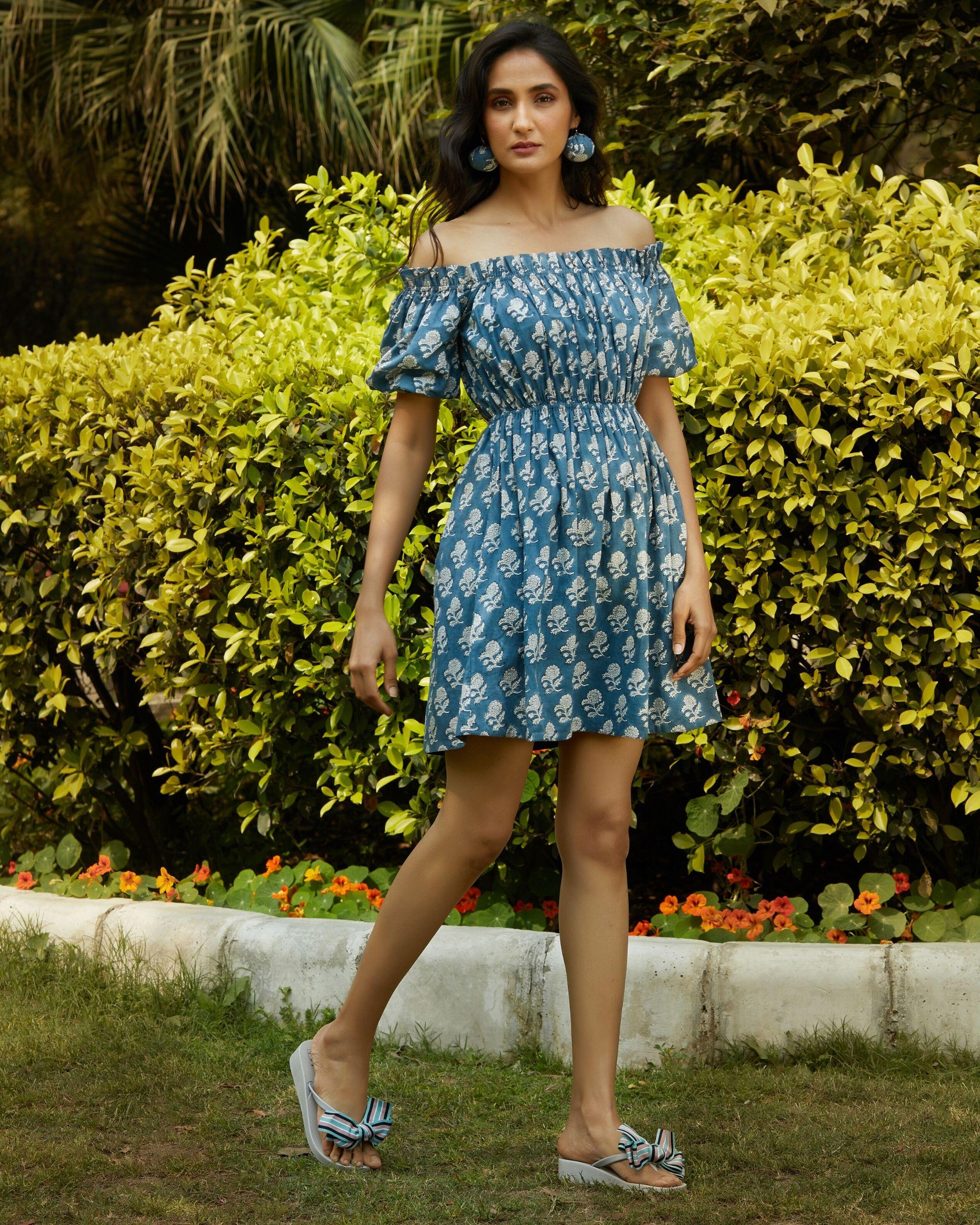 Space blue printed off shoulder dress